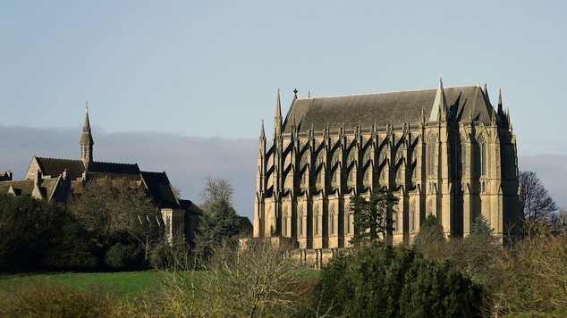 Lancing College Chapel near Shoreham, in west Sussex, ahead of a memorial service