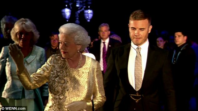 Former Take That frontman Barlow met Her Majesty (as my picture shows) after he was chosen to compose the Queen's official Diamond Jubilee single, Sing, with Andrew Lloyd Webber