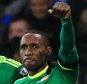 "Sunderland's Jermain Defoe (right) celebrates scoring his side's first goal of the game during the Barclays Premier League match at Selhurst Park, London. PRESS ASSOCIATION Photo. Picture date: Monday November 23, 2015. See PA story SOCCER Palace. Photo credit should read: Nick Potts/PA Wire. RESTRICTIONS: EDITORIAL USE ONLY No use with unauthorised audio, video, data, fixture lists, club/league logos or ""live"" services. Online in-match use limited to 75 images, no video emulation. No use in betting, games or single club/league/player publications."