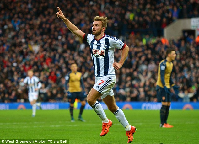 James Morrison wheels away after scoring to notch West Brom's first home win over Arsenal for 10 years