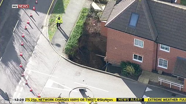 Authorities are looking into it: The sinkhole is the latest in a string of landslips caused by extreme weather