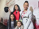 **FREE TO USE** Mel B and daughters Angel, Phoenix and Madison hopped on board the Westfield Christmas Before Christmas Bus this afternoon. 23/11/2015 Byline John Nguyen/JNVisuals
