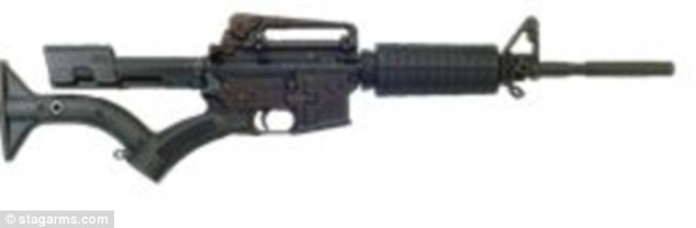 The 'compliant' AR-15: It has an angled grip, in place of a pistol grip, no grenade launcher and a crowned barrel that prohibits a silencer attachment