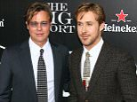 Brad Pitt and Ryan Gosling pose on the red carpet together at the NY premiere of 'The Big Short'  Pictured: Brad Pitt and Ryan Gosling Ref: SPL1183742  231115   Picture by: Jackson Lee / Splash News  Splash News and Pictures Los Angeles: 310-821-2666 New York: 212-619-2666 London: 870-934-2666 photodesk@splashnews.com