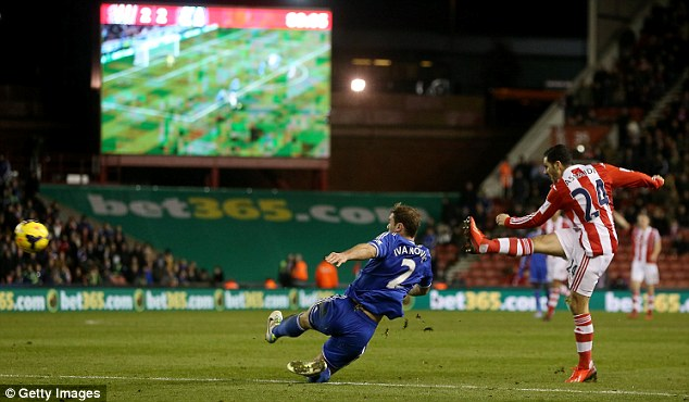 Thump: Assaidi's shot flew past Petr Cech in the Chelsea goal