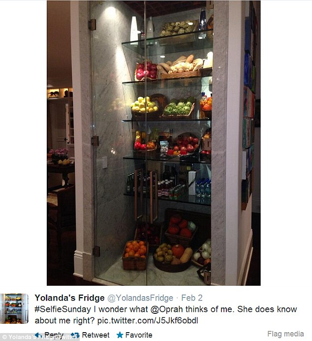 Famous fridge: The house comes with the Yolanda-designed floor-to-ceiling glass refrigertor