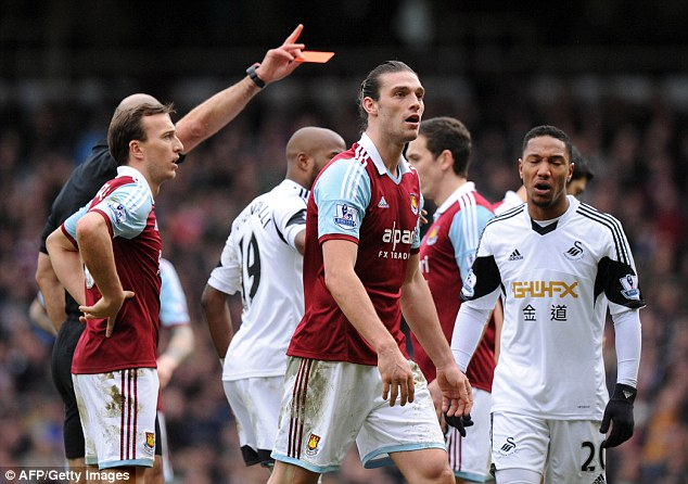Off day: Carroll saw red in West Ham's clash with Swansea, potentially sidelining him for another three games