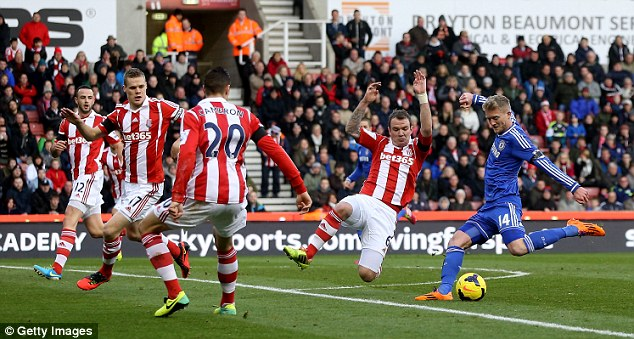 Opener: Andre Schurrle opened the scoring with a fine left-footed strike after just nine minutes