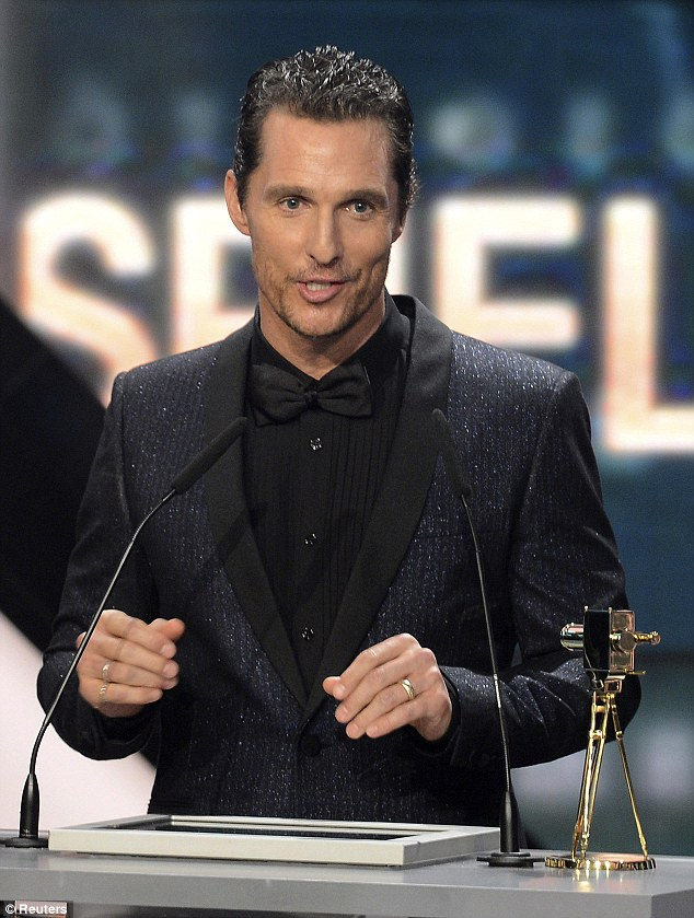 Award winning: Matthew picked up the prize for Best International Actor at the ceremony