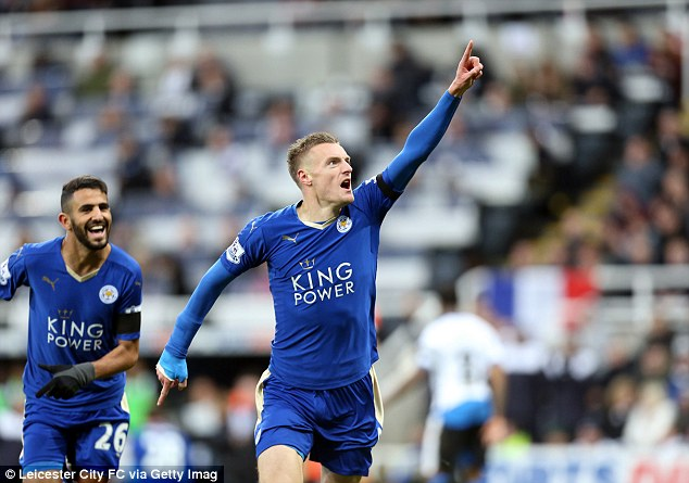 Vardy's strike paved the way for a 3-0 win at St James' Park which fired Leicester City top of the table