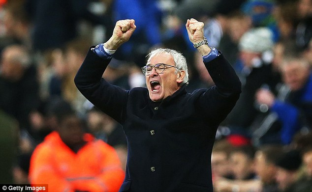Leicester boss Claudio Ranieri celebrates his team's success from the St James' Park touchline
