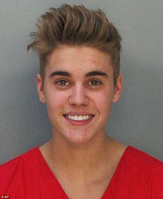 Booked: Bieber pictured in his mug shot