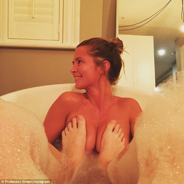 Pranking the wife:After snapping her shaving in the bathroom, the rapper uploaded a cheeky snap of the couple enjoying a bath together over the weekend