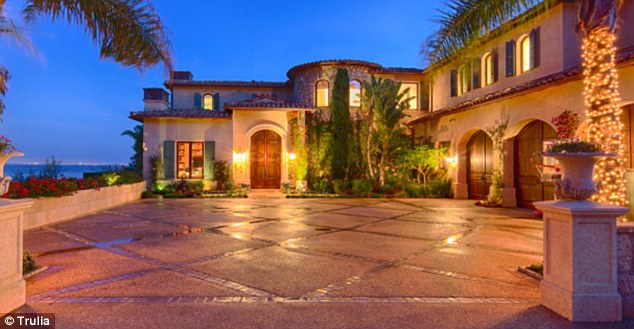 Top of the hill: The sprawling estate sits on the top of a high Malibu bluff