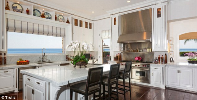 Huge kitchen: The expansive kitchen features wide ocean views