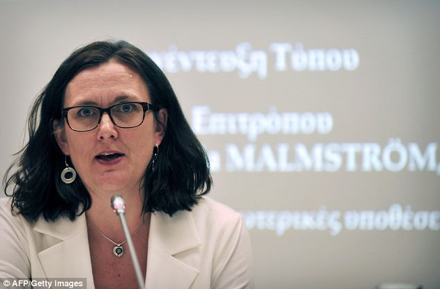 Dismissal: EU home affairs commissioner Cecilia Malmstrom indicated the UK was isolated in Europe for wanting restrictions on access to welfare for new arrivals, with most other states not concerned about it