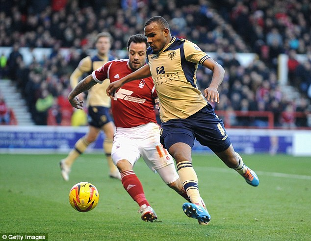 On target: Leeds midfielder Rodolph Austin (right), pictured here in action against Nottingham Forest last season, scored for the white XI