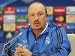 epa05040108 Real head coach Rafael Benitez answers questions during a press conference in Lviv, Ukraine, 24 November 2015. Real Madrid will face Shakhtar Donetsk in the UEFA Champions League Group A football match at the Arena Lviv stadium on 25 November  2015.  EPA/SERGEY DOLZHENKO