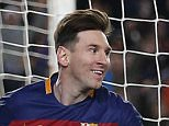 Barcelona's Lionel Messi scores his team's 5th goal during the Group E Champions League soccer match between Barcelona and Roma at the Camp Nou stadium in Barcelona, Spain, Tuesday Nov. 24, 2015. (AP Photo/Emilio Morenatti)