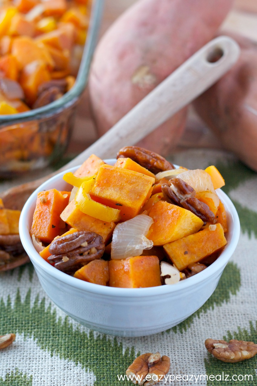 bowl of easy healthy eating sweet potatoe harvest