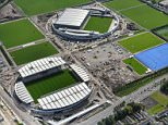 Aerial view of the newly opened City Football Academy during the opening of the new Manchester City Etihad Campus in Manchester, England on 8th December 2014. CSM /Landov