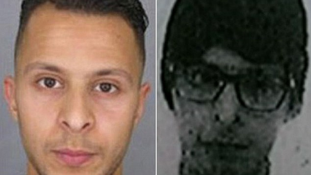 New identity:Salah Abdeslam (left) - alleged to have hired the black VW Polo used by Paris terrorists - is said to be using a new name and disguising himself using a wig and glasses (right)