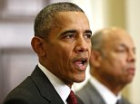 President Barack Obama, accompanied by Homeland Security Secretary Jeh Johnson, speaks in the Roosevelt Room of the White House in Washington, Wednesday, Nov. 25, 2015, to brief the public on the nation's homeland security posture heading into the holiday season, following meeting with his national security team. (AP Photo/Pablo Martinez Monsivais)
