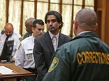 Derek Medina, is led out of the courtroom after he was found guilty of second-degree murder, Wednesday Nov. 25, 2015 in Miami. Medina, who killed his wife and posted a photo of the bloody corpse on Facebook, was convicted after failing to convince a jury that he shot her eight times in self-defense. (Walter Michot/The Miami Herald via AP, Pool)