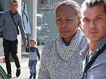 EXCLUSIVE TO INF. \nNovember 24, 2015: Gavin Rosedale has lunch with his son Apollo and their new nanny in Brentwood, California. \nMandatory Credit: Sasha Lazic/INFphoto.com\nRef.: infusla-257\n