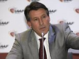 "President of IAAF (International Amateur Athletic Federation) Sebastian Coe speaks during a press conference after the 202nd  IAAF Council Meeting in Monaco, Thursday, Nov. 26, 2015. The meeting in Monaco was discussing efforts to eradicate the doping culture in Russia and was informed by Russian authorities that they are ready to work ""very actively"" with track and field's governing body. (AP Photo/Lionel Cironneau)"