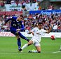 SWANSEA, WALES - SEPTEMBER 19: Ross Barkley of Everton shoots at goal while Jack Cork of Swansea City tries to block during the Barclays Premier League match between Swansea City and Everton at the Liberty Stadium on September 19, 2015 in Swansea, United Kingdom.  (Photo by Alex Broadway/Getty Images)