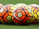 A general view of Nike Ordem Hi-Vis 15-16 winter match balls ahead of the Barclays Premier League match between Manchester United and Manchester City played at Old Trafford Stadium, Manchester on October 25th 2015