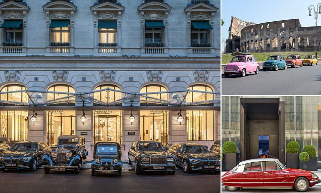 The hotels with iconic courtesy cars including 1934 Rolls Royce Phantom and vintage Fiat