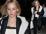 November 27, 2015: Jennifer Lawrence was spotted leaving her hotel heading over to see the Broadway play ''Hamilton'' in midtown Manhattan, New York City.\nMandatory Credit: T.Jackson/INFphoto.com Ref: infusny-284
