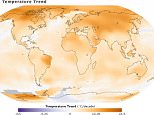 No substantive evidence for 'pause' in global warming, study finds  Maps of the 2014 global temperature anomaly (top) and the 1950-2014 temperature trend (bottom.) (Image Credit: NASA/GSFC/Earth Observatory, NASA/GISS)