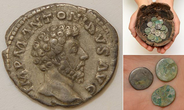 Hoard of Roman coins dating back to Mark Antony are discovered in Welsh field: 91 pieces