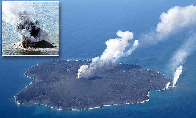 Volcanic island that first appeared two years ago has become TWELVE times bigger