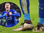 LEICESTER, ENGLAND - NOVEMBER 28:  The record scoring boots of Jamie Vardy of Leicester City during the Barclays Premier League match between Leicester City and Manchester United at The King Power Stadium on November 28, 2015 in Leicester, England.  (Photo by Matthew Ashton - AMA/Getty Images)