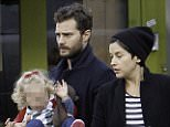 LONDON, ENGLAND - NOVEMBER 25:  EXCLUSIVE COVERAGE)(MINIMUM ONLINE/WEB USAGE FEE �150 FOR SET)Jamie Dornan and Amelia Warner sighting on November 25, 2015 in London, England.  (Photo by Crowder/Legge/GC Images)