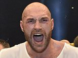Britain's new world champion Tyson Fury celebrates with the WBA, IBF, WBO and  IBO belts after winning the world heavyweight title fight against Wladimir Klitschko in the Esprit Arena in Duesseldorf, western Germany, Sunday, Nov. 29, 2015. (AP Photo/Martin Meissner)