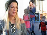 """*EXCLUSIVE* Shopaholic Tori Spelling hits the Black Friday sales hard with her exhausted children and nanny Patsy Lemmers. The 42-year old self-proclaimed pack rat and hoarder took a tired looking Stella, 7, and Finn, 3, out to shop for recycled furniture at Rebound in Woodland Hills and then hit the Black Friday sales at Home Goods in West Hills, Calif. In her autobiography """"Spelling It Like It Is"""" hoarder Tori confessed to blowing through 18 million dollars, and in her Lifetime reality show True Tori we learned that she pays rent on a staggering 127 storage vaults which are full of her possessions she cannot bear to part with.\\n\\nPictured: Tori Spelling, Patsy Lemmers, Stella McDermott, Finn McDermott\\nRef: BLNKP1183 112715\\nPhoto credit: blink-news.com\\nBlink News Los Angeles 424-270-9694\\ngo@blink-news.com"""