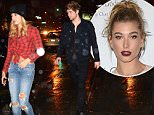 NEW YORK, NY - OCTOBER 28:  Model Hailey Baldwin and Luke Hemmings of 5 Seconds of Summer are seen outside Cipriani Restaurant in Soho on October 28, 2015 in New York City.  (Photo by Raymond Hall/GC Images)