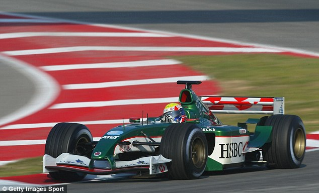 Webber in action with Jaguar in the Formula One testing at the Circuit de Catalunya on January 22, 2000