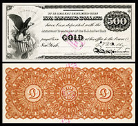 $500 Gold Certificate, Series 1865, Fr.1166d, with a vignette of an eagle and shield (left) and justice (bottom center).