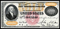 $5,000 Gold Certificate proof, Series 1870, Fr.1166k, depicting James Madison