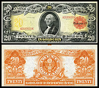 $20 Gold Certificate, Series 1905, Fr.1180, depicting George Washington