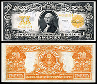 $20 Gold Certificate, Series 1922, Fr.1187, depicting George Washington