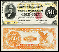 $50 Gold Certificate, Series 1882, Fr.1195, depicting Silas Wright