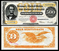 $500 Gold Certificate, Series 1922, Fr.xxxx, depicting Abraham Lincoln
