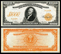 $1,000 Gold Certificate, Series 1907, Fr.1219, depicting Alexander Hamilton